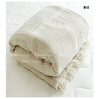 Wholesale Full Cotton Blanket - Nordic style cotton thread blanket thicken woven bed spread throw sofa cover blanket free shipping