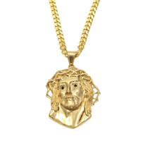 colgantes de religión al por mayor-Uwin Religión Jesús Piezas Cara Collar de Acero Inoxidable de Calidad Superior de Color Oro Colgante Egipcio Egipcio Joyería Para Hombres Y mujeres