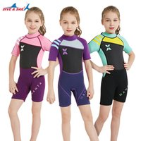 Wholesale anti uv swimwear for sale - 2 mm Neoprene Kids Wetsuit Surf Dive Short Sleeved Wet Suit Girls One piece Swimwear Child Anti UV Warm Clothing Rash Guard Drop Shipping J