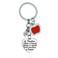 Discount wholesale heart keyrings - A Teacher Takes A Hand Opens Mind And Touches Heart Pendant Keychain Love Heart Apple Keyring Teachers Key Chain Ring Gift