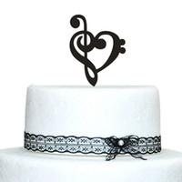 белые перчатки оптовых-Подгонянные музыкальные ноты свадебный торт toppers с дизайн сердца акриловые торт Топпер