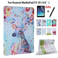Wholesale Huawei Pads - Case For Huawei MediaPad T3 10 AGS-L09 AGS-L03 9.6 inch Smart Cover Funda Cartoon PU for Honor Play Pad 2 9.6 Cover+Film+Pen