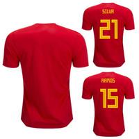 Wholesale camisetas futbol thai quality - Spain home red Soccer Jersey 2018 world cup MORATA 7 ISCO 22 ASENSIO 20 Spain soccer shirt Thai Quality SPAIN camisetas de futbol
