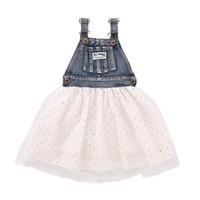 jupe blanche en jean denim achat en gros de-Bébé filles blanc Love Denim gilet robe Couture 2018 Summer Girl impression sans manches maille jupe Robe Enfants Vêtements H134
