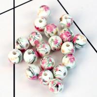 porzellan perlen blumen großhandel-Porzellan Keramik Runde Perlen 10 MM 50 TEILE / LOS Bunte Blume Perlen Für Handgemachte DIY Halskette Armbänder Schmuck