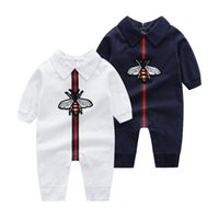 Wholesale high kids clothes for sale - Group buy 2018 New Baby Girls Lapel Collar Rompers Fashion Infant Long Sleeve Romper Kids Climbing Clothes High Quality T