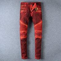 Wholesale men s linen coat - Men's Jeans Pants Skinny Pencil Designer Brand High Quality Fashion Jeans Paste Crystal Golden Wings Mens Clothing Crime Zipper Pants