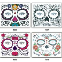 Wholesale fast toys for sale - Group buy Christmas Toy Halloween Party Facial day of the dead faced tattoo masquerade ball must pretty tattoo sticker waterproof fast shipping