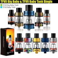 mod tanque grande al por mayor-De calidad superior TFV8 Big Baby Baby Tank paquete individual 5 ml 3 ml Control de flujo de aire V8 bobinas de bestia atomizadores Stick Vape mods e cigarrillos Vaporizador
