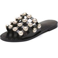 han nefes alabilen ayakkabılar toptan satış-Han baskı Retro Inci Düz Alt Yarım Güzel Yeni Yaz Serin Terlik Kadın Hollow Out Nefes Örgü Ayakkabı Terlik Kadınlar