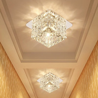 Wholesale small spotlight lamp for sale - Group buy Living Room Spotlight LED Ceiling Lamp Aisle Plafond Light Creative Corridor Small Down Lamp Square Stainless Steel Crystal Ceiling Light