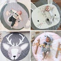 bebek tarama paspasları toptan satış-90 CM Yuvarlak Bebek Playmat Kreş Halı Emekleme Mat Teepee Paspaslar Yumuşak Oyun Kilim Sürünen Çocuk Odası Dekoratif Halı Pedleri
