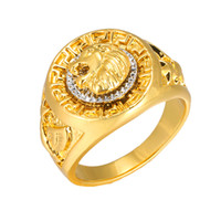 Wholesale tibet silver lion - Fashion Gold and Silver Colors Classic Men's Punk Style Hip Hop Ring Band Cool Lion Head Gold Ring Jewelry