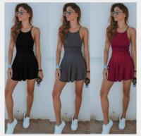 ingrosso mini vestito stretto più il formato-Fashion Summer Women Sexy Stretto Dress Solid Color Strap Backless Beach Casual Ladies Girls Mini Abiti corti Plus Size