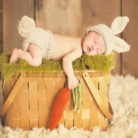 Wholesale crochet diaper hat set resale online - Baby Photo Props Newborn Photography Props Crochet Knitting Baby Bunny Costumes Set Rabbit Hats and Diaper Beanies and Pants
