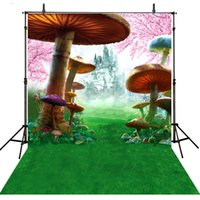 fond de toile de vinyle achat en gros de-Tissu de vinyle toile de fond de photographie de champignons imprimer pour les enfants nouveau-né Photocall Alice au pays des merveilles studio photo de fond