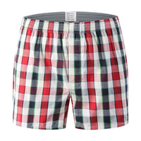 algodón suelto a cuadros al por mayor-Oversize Mens Underwear Boxers Shorts Casual Cotton Red Underpants Marcas de alta calidad Plaid Loose Cómodo Homewear Bragas