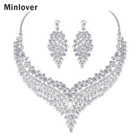 ingrosso set di gioielli indiani per la vendita-Minlover Set di gioielli da sposa africani con foglia di lusso per donne Set di orecchini con collana in cristallo trasparente Gioielli da sposa MTL508