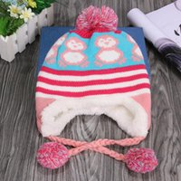 Wholesale cashmere baby crochet hats online - Baby Toddler Ear Protection Cap Kids Penguin Pattern Earflap Knitted Hats Kids Winter Warm Hats Covering