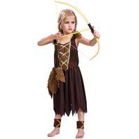 çocuk kitapları toptan satış-Kızlar Viking Kostüm Çocuklar Savaşçı Fantezi Elbise Kıyafet Kitap Hafta Tarihsel
