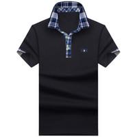 плюс мужские поло оптовых-Free Shipping 2018 Men's   Shirt For Men Designer s Men Cotton Short Sleeve shirt s Plus Size S-10XL