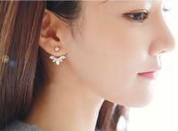 Wholesale Leaf Cuff Gold Earrings - Lady Clear Crystal Leaf Feather Ear Jacket Earrings Back Ear Cuffs Stud Earrings for Women