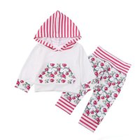 Wholesale INS Baby flower print Outfit Toddler long sleeve hoodie stripe pant Set Infant Girl Autumn Winter Cloth