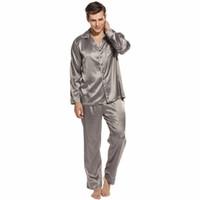 saten pantolon pantolonu toptan satış-Gevşek Pijama Erkekler Saten Pijama Homme Gecelik Pijama Takımı Lounge Pantolon ve Üst 2 Parça Suit Gece Pijamas Erkek Ev Giyim