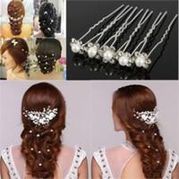 blumenmädchen weiße haarclips großhandel-Haarnadeln Haarspangen Für Mädchen Frauen Weiße Perle Für Friseur Haarschmuck Braut Hochzeit Schmuck Blume Haarnadel Haarspangen