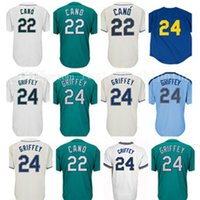 Wholesale free baseball logos - Mens Robinson Cano Ken Griffey Jr Embroidery Logos Cheap Sale Stitched
