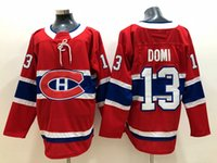 хоккейные майки канадиенс оптовых-2018 Montreal Canadiens Max Domi Хоккейные майки Home Red Mens # 13 Max Domi Сшитые хоккейные рубашки S-XXXL