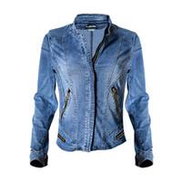 новый мульти-куртка на молнии оптовых-2017 Dreamskull новый стенд воротник женщины Бейсбол куртки стрейч джинсовая куртка Multi-молния короткие мотор стиль Chaqueta женский пальто