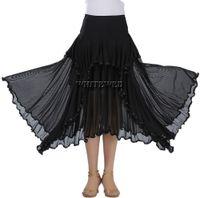 ingrosso gonne lunghe di ballo della sala da ballo-Ruffle Full Circle Circular Waltz Ballroom Pratica Gonna da ballo Long Two Tone Ballroom Flamenco National Dance Practice Wear Gonne Costumi