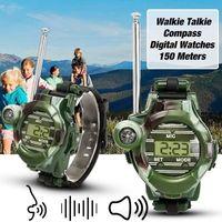 Wholesale spy wrist watches - Kids LCD Radio Walkie Talkies Wrist Watches Intercom Set Electric Outdoor Army SPY Lights Mic Game Gadget Toy