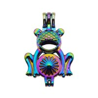 Wholesale frog oil - 10pcs Rainbow Color Cute Frog Pearl Cage Beads Cage Locket Pendant Essential Oil Diffuser DIY Jewelry Locket For Oyster Pearl