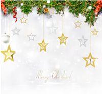 синяя звезда для елки оптовых-Рождество полые звезды висит орнамент золото серебро Синий Фиолетовый блеск звезды кулон DIY Рождественская елка Home Decor