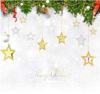 ingrosso stella di albero di natale blu-Stella di Natale vuota appesa ornamento oro argento blu viola Glitter stelle ciondolo albero di Natale fai da te decorazioni per la casa