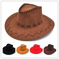 2018 Retro Unisex Ocidental Vaqueira Cowgirl Chapéu de Palha Chapéu  Cavalier Homens e Mulheres Tampas de Sol Pepkin Cowboy chapéu 1f7180d7e08
