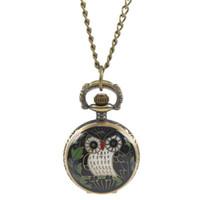 baykuş saati kolye toptan satış-Funique owl desen cebi kadın erkek kolye zincir kuvars İzle siyah bronz tonu saat kolye bayanlar kızlar için hediyeler