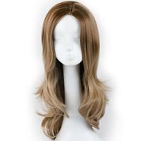 peluca blanca envío gratis al por mayor-Pelucas sintéticas de alta densidad largas de Ombre Brown para las mujeres negras / blancas pelucas onduladas naturales del pelo de Cosplay para las señoras que envían libremente