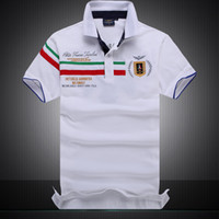 Wholesale turndown collar - Mens Designer Polo Shirts 2018 Summer T Shirts Embroidery Turndown Collar Cotton Blend Basic Top for Men Breathable and Loose