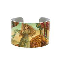 bracelet manchette bohème métal achat en gros de-2018 bohème gypsy déesse métal manchette reine bracelet bohème sorcière bijoux faits main carte de voeux tarot mythologie païenne