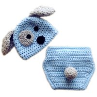 Wholesale Knit Hats Diaper Covers - Wow! Cute Blue Baby Boys Toddler Infant Newborn Photography Props Handmade Knit Crochet Puppy Hat + Diaper Cover