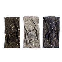 cintas para la cabeza metálicas anudadas al por mayor-Geebro para mujer de color metálico ancho vendas elásticas moda cruzada anudada turbante de punto diadema para señoras abrigo arco Hairband
