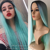 Wholesale wig chocolate - Ombre Hair wigs Lace Wigs 20inch Sexy Party Long Straight Hairstyle chocolate Black& Mint Green Synthetic Heat Resistant