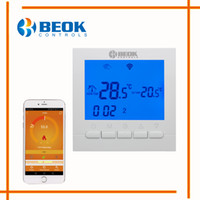 Wholesale room thermostat controller resale online - BEOK BOT WIFI Gas Boiler Heating Thermostat Blue White Room Temperature Controller Regulator for Boilers Weekly Programmable