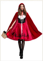 Wholesale red riding hood woman costume for sale - Halloween Costumes Women Clothes Little Red Riding Hood Cosplay Red Dresses Hooded Cape Set