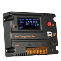 panel solar batería de carga 12v al por mayor-Freeshipping 20A Controlador de carga solar Panel solar Regulador de batería Interruptor automático Controlador solar Compensación de temperatura 12V / 24V
