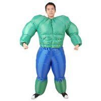 traje de fantasía para hombre al por mayor-Adulto Halloween Purim Fitness Instructor inflable Músculo hombre Hulk disfraz Divertido gigante Carnaval vestido de fiesta Final Fantasy