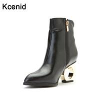 ingrosso tacchi in peluche-Kcenid Fashion scarpe a punta tagliate in metallo strane donne col tacco alto stivaletti zip laterali peluche scarpe invernali donna taglia grande 33-49
